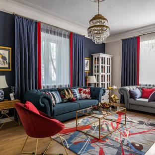 Стильный дизайн: парадная гостиная комната среднего размера в стиле современная классика с паркетным полом среднего тона, телевизором на стене, синими стенами и коричневым полом - последний тренд