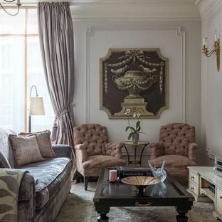 Свежая идея для дизайна: большая изолированная гостиная комната в классическом стиле с серыми стенами и ковровым покрытием - отличное фото интерьера