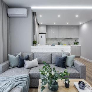 Esempio di un piccolo soggiorno minimal aperto con pareti grigie, pavimento in laminato, pavimento beige e TV a parete