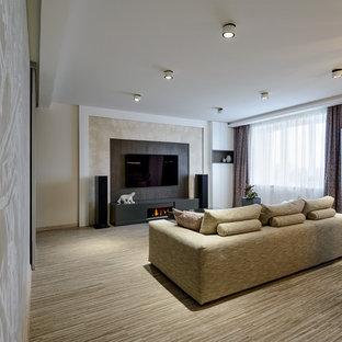 Esempio di un soggiorno design di medie dimensioni e aperto con pareti beige, pavimento in sughero, camino lineare Ribbon, TV a parete e pavimento beige