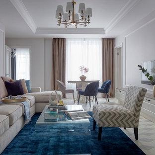 Пример оригинального дизайна: парадная, открытая гостиная комната в стиле современная классика с белыми стенами, телевизором на стене и белым полом