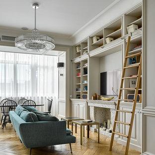 Идея дизайна: гостиная комната в стиле современная классика
