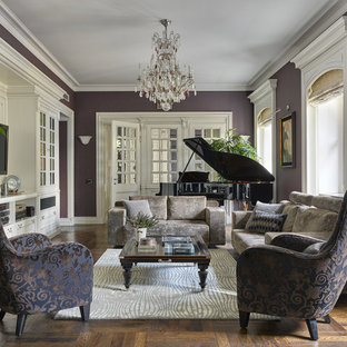 Inspiration for a large classic enclosed living room in Moscow with purple walls, medium hardwood flooring, a music area, no fireplace and a wall mounted tv.
