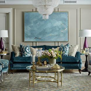 Идея дизайна: парадная гостиная комната в классическом стиле с бежевыми стенами