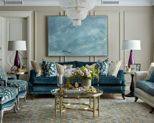 traditional living room designs. Example of a classic formal living room design in Moscow with beige walls 15  Best Traditional Living Room Ideas Designs Houzz