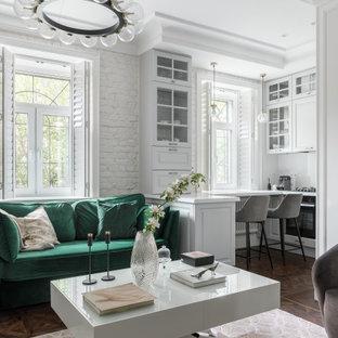 Ejemplo de salón abierto y ladrillo, nórdico, de tamaño medio, ladrillo, sin televisor, con paredes blancas, suelo vinílico, suelo marrón y ladrillo