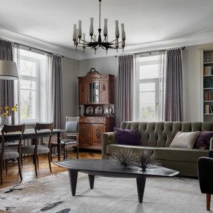 Идея дизайна: большая открытая гостиная комната в стиле современная классика с паркетным полом среднего тона, бежевыми стенами и коричневым полом