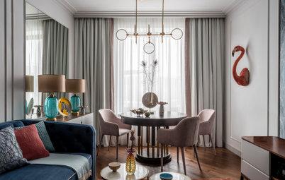 Houzz тур: Квартира, где на стене гостиной поселился фламинго