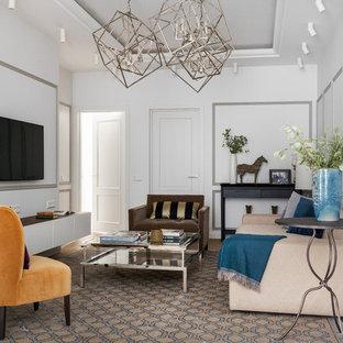 На фото: парадная, открытая гостиная комната в стиле современная классика с белыми стенами, паркетным полом среднего тона, телевизором на стене и коричневым полом с