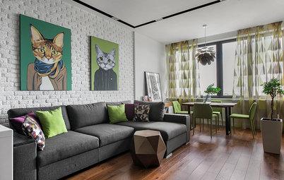 Houzz тур: «Однушка» с зелеными стенами