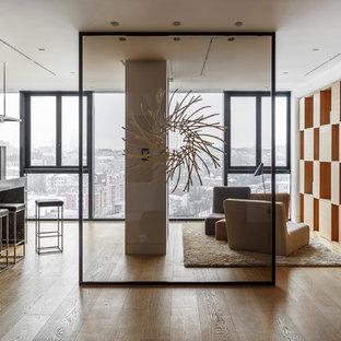 Выдающиеся фото от архитекторов и дизайнеров интерьера: парадная, открытая гостиная комната в современном стиле с белыми стенами и светлым паркетным полом