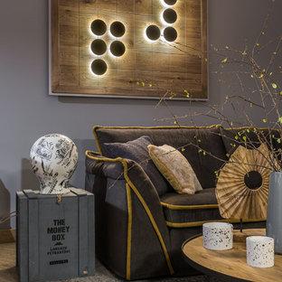 На фото: парадная гостиная комната среднего размера в современном стиле с серыми стенами, полом из винила, отдельно стоящим ТВ и бежевым полом без камина с