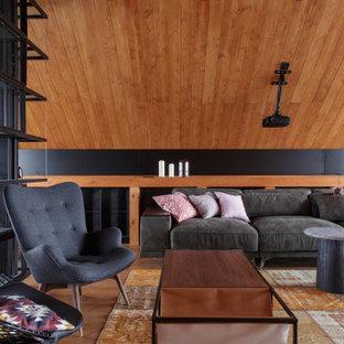 Стильный дизайн: маленькая гостиная комната в стиле лофт - последний тренд