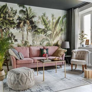 Свежая идея для дизайна: парадная гостиная комната в стиле фьюжн с разноцветными стенами и белым полом без камина, ТВ - отличное фото интерьера