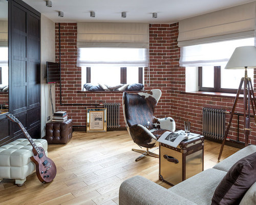 Industrial Living Room with a Music Area Ideas Design Photos Houzz