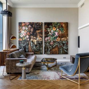 Свежая идея для дизайна: гостиная комната в современном стиле - отличное фото интерьера