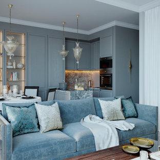 Пример оригинального дизайна: открытая гостиная комната среднего размера в стиле современная классика с серыми стенами и серым полом