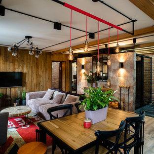他の地域の中くらいのインダストリアルスタイルのおしゃれなリビング (マルチカラーの壁、無垢フローリング、暖炉なし、壁掛け型テレビ) の写真