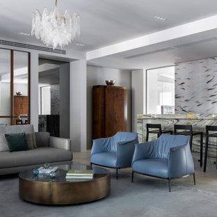 Пример оригинального дизайна: открытая гостиная комната в современном стиле с серыми стенами и серым полом