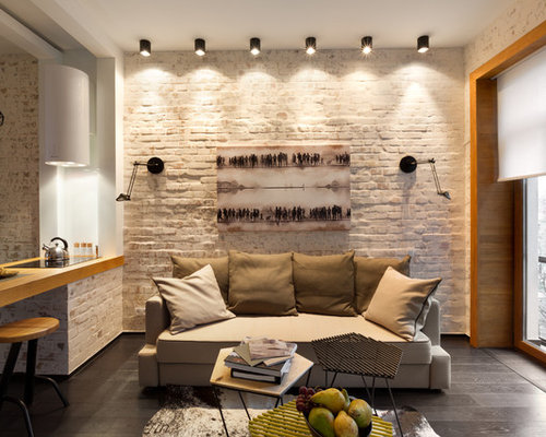 Example Of A Small Urban Enclosed Living Room Design In Other With White  Walls, Dark Part 61