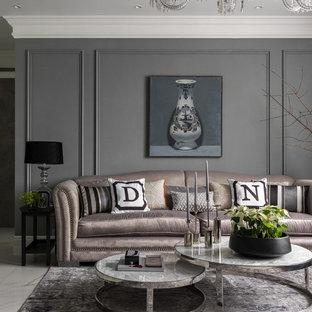 Пример оригинального дизайна: парадная, открытая гостиная комната в современном стиле с серыми стенами и белым полом
