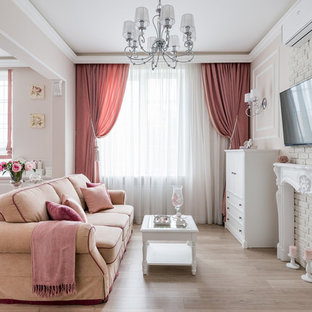 Small Elegant Open Concept Light Wood Floor And Beige Living Room Photo In Moscow With