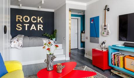 Visite Privée : De la couleur dans un appartement rock de 34 m²