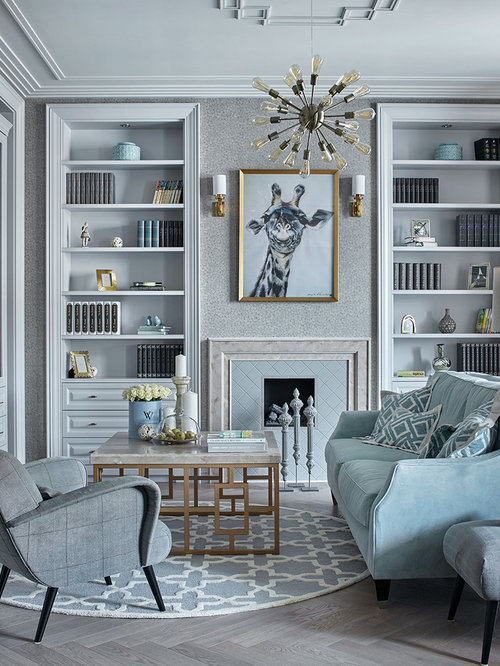 Inspiration For A Mid Sized Transitional Formal Gray Floor Living Room  Remodel In Other With