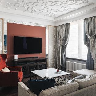 Выдающиеся фото от архитекторов и дизайнеров интерьера: парадная, открытая гостиная комната среднего размера в стиле современная классика с серыми стенами, телевизором на стене и паркетным полом среднего тона