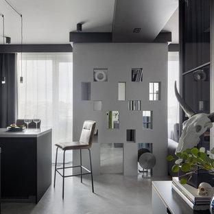 Источник вдохновения для домашнего уюта: открытая гостиная комната в стиле лофт с бетонным полом и серым полом