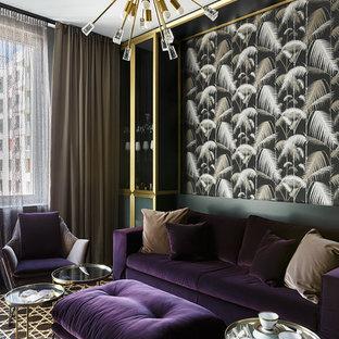 Свежая идея для дизайна: гостиная комната в современном стиле с черными стенами - отличное фото интерьера