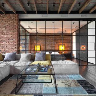 Неиссякаемый источник вдохновения для домашнего уюта: большая парадная гостиная комната в стиле лофт