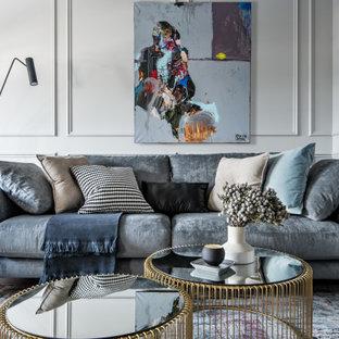 エカテリンブルクの小さいコンテンポラリースタイルのおしゃれなLDK (フォーマル、グレーの壁、クッションフロア、両方向型暖炉、金属の暖炉まわり、壁掛け型テレビ、ベージュの床) の写真