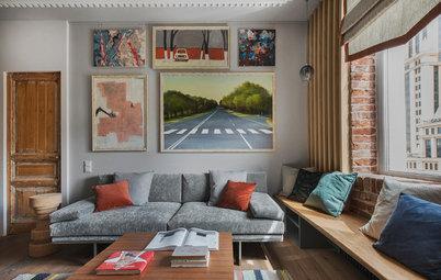 Фотоохота: Как повесить картину над диваном — 20 идей