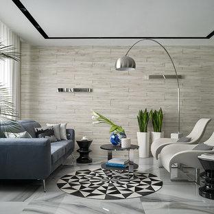 Пример оригинального дизайна интерьера: парадная, открытая гостиная комната среднего размера в современном стиле с бежевыми стенами, полом из керамогранита и скрытым ТВ