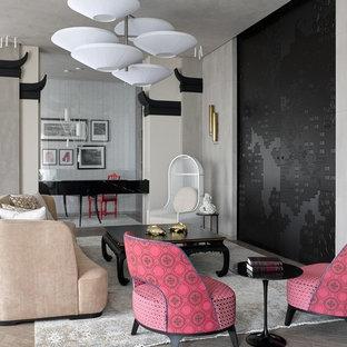 Пример оригинального дизайна: гостиная комната в современном стиле с серыми стенами и бежевым полом