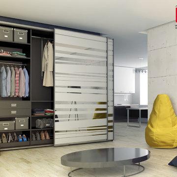 Шкафы с компланарной системой раздвижения дверей