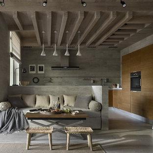 Bild på ett funkis vardagsrum, med grå väggar, grått golv och klinkergolv i keramik
