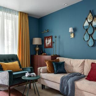 Foto de salón actual, pequeño, con paredes azules y moqueta