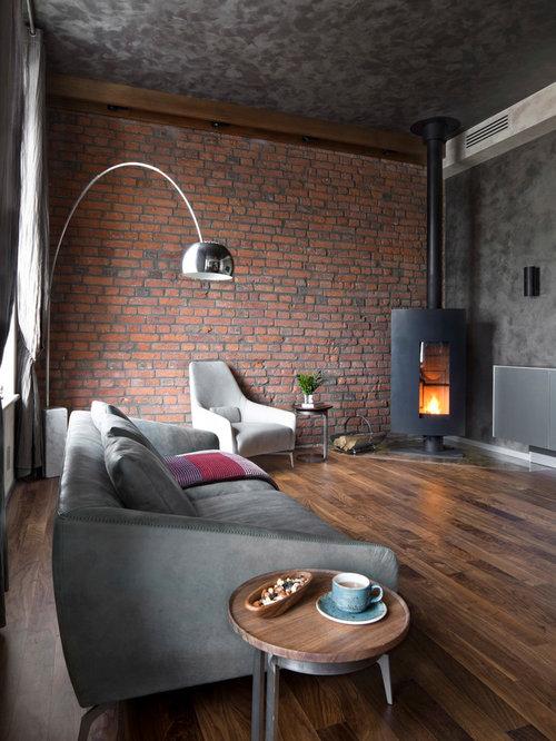 industrial wohnzimmer mit kaminofen ideen design houzz. Black Bedroom Furniture Sets. Home Design Ideas
