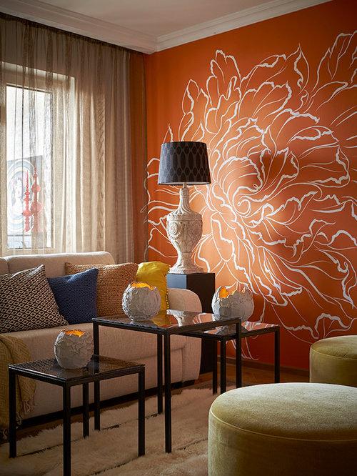 70+ Best Living Room with Orange Walls Ideas | Houzz