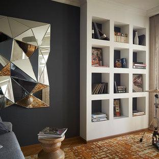 Новые идеи обустройства дома: гостиная комната в современном стиле с музыкальной комнатой, черными стенами и ковровым покрытием