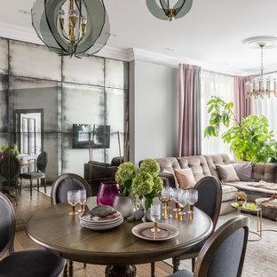 Пример оригинального дизайна: парадная, открытая гостиная комната в стиле современная классика с серыми стенами и паркетным полом среднего тона