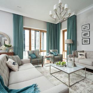 Ejemplo de salón para visitas clásico, grande, con paredes grises y moqueta