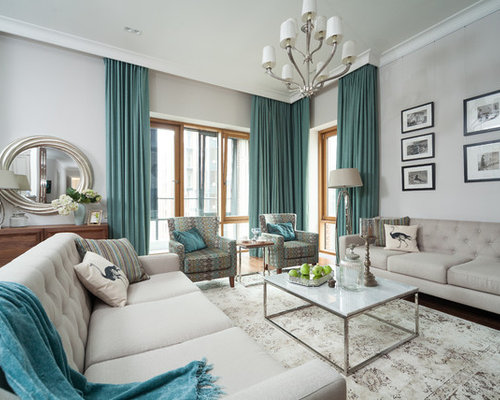 Living Room   Large Traditional Formal Carpeted Living Room Idea In Moscow  With Gray Walls