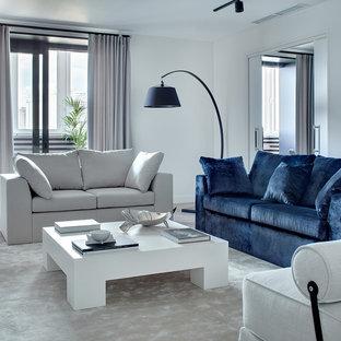 Свежая идея для дизайна: парадная, изолированная гостиная комната в современном стиле с белыми стенами, ковровым покрытием и бежевым полом - отличное фото интерьера