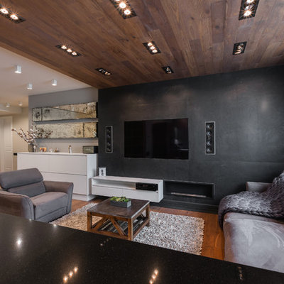 Living room - contemporary open concept medium tone wood floor and brown floor living room idea in Moscow with black walls, a ribbon fireplace and a wall-mounted tv
