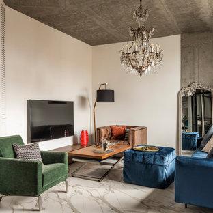 На фото: гостиная комната в стиле лофт с белыми стенами, телевизором на стене и белым полом с