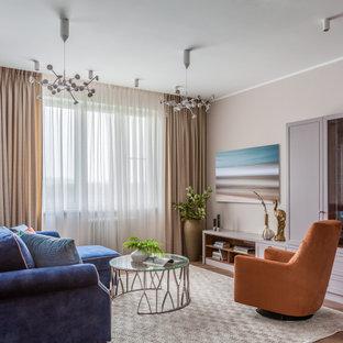 Свежая идея для дизайна: парадная гостиная комната в стиле современная классика с розовыми стенами и паркетным полом среднего тона без камина - отличное фото интерьера