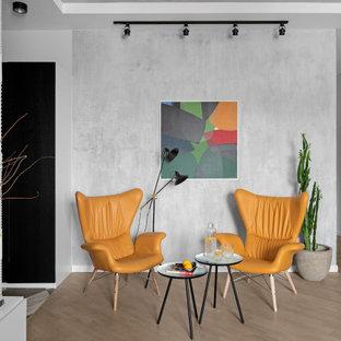 Источник вдохновения для домашнего уюта: парадная, открытая гостиная комната среднего размера в современном стиле с серыми стенами и бежевым полом без ТВ